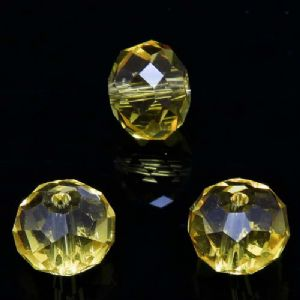 Beads, Selenial Crystal, Crystal, Gold colour , Faceted Discs, 10mm x 8mm, 10 Beads, [ZZC141]